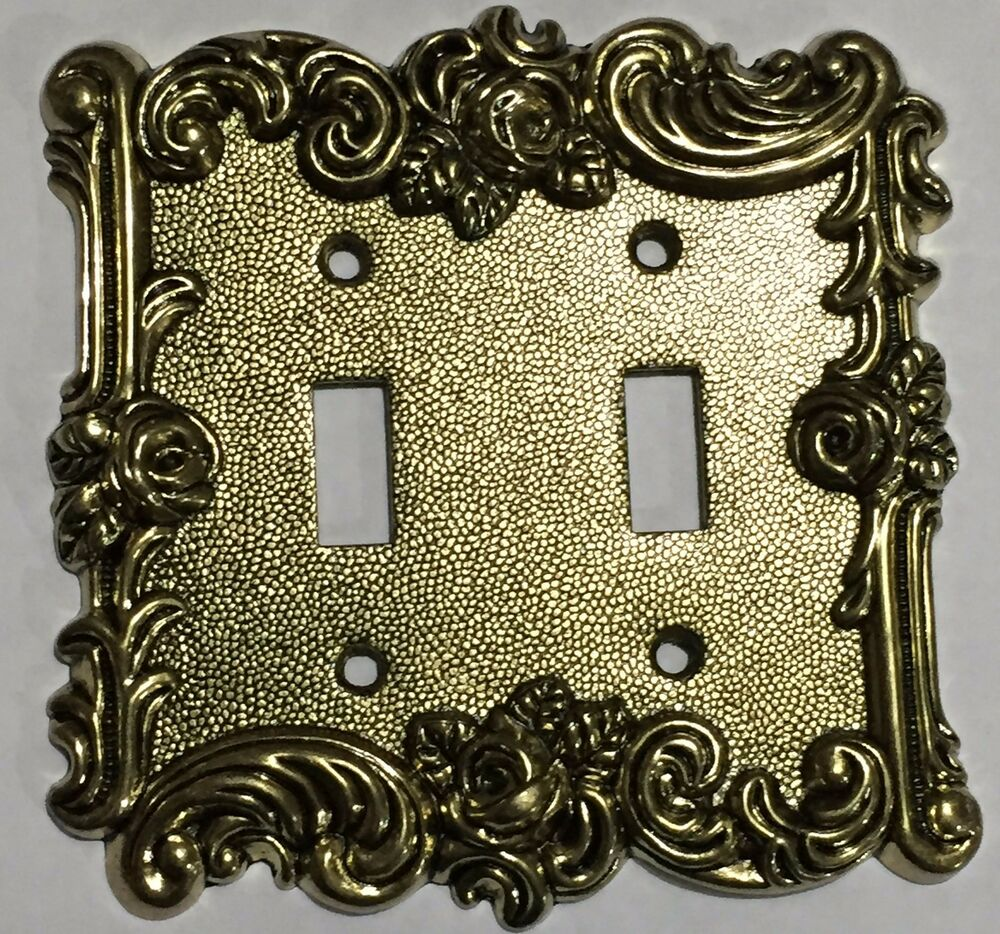 Gold Victorian Antique Vintage Rose 2 Toggle Light Switch
