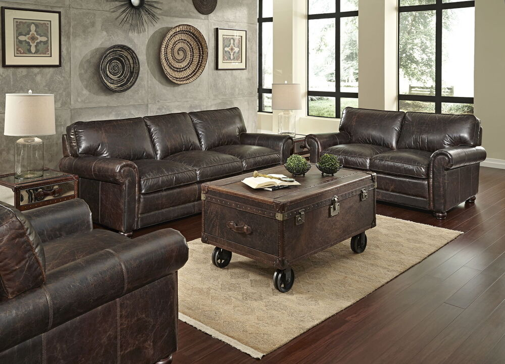 sofa ottoman chair living room set top grain australian leather chocolate brown ebay. Black Bedroom Furniture Sets. Home Design Ideas