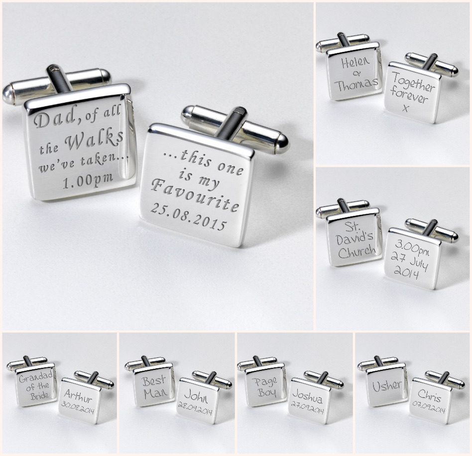 Personalised WEDDING Silver Plated CUFFLINKS Dad Father ...