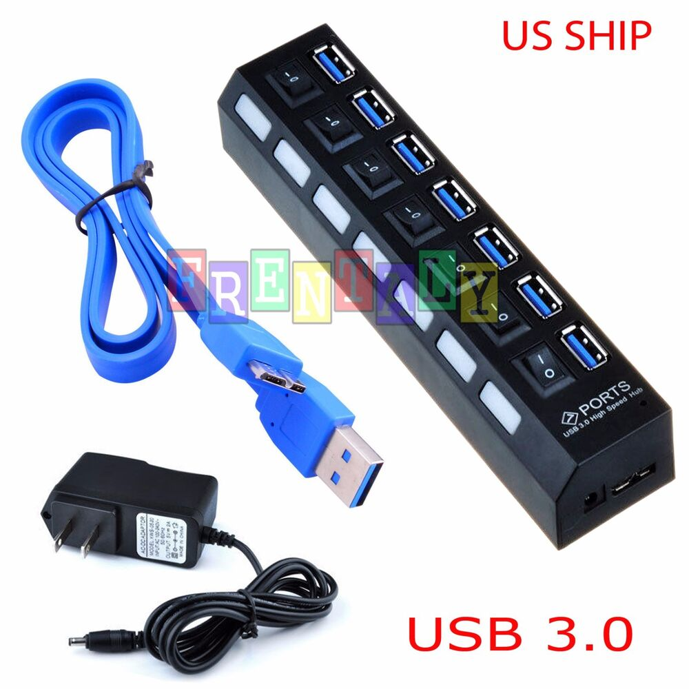 Black 7 port usb 3 0 hub on off switches ac power adapter cable for pc laptop ebay - Usb 7 port hub with power switches ...
