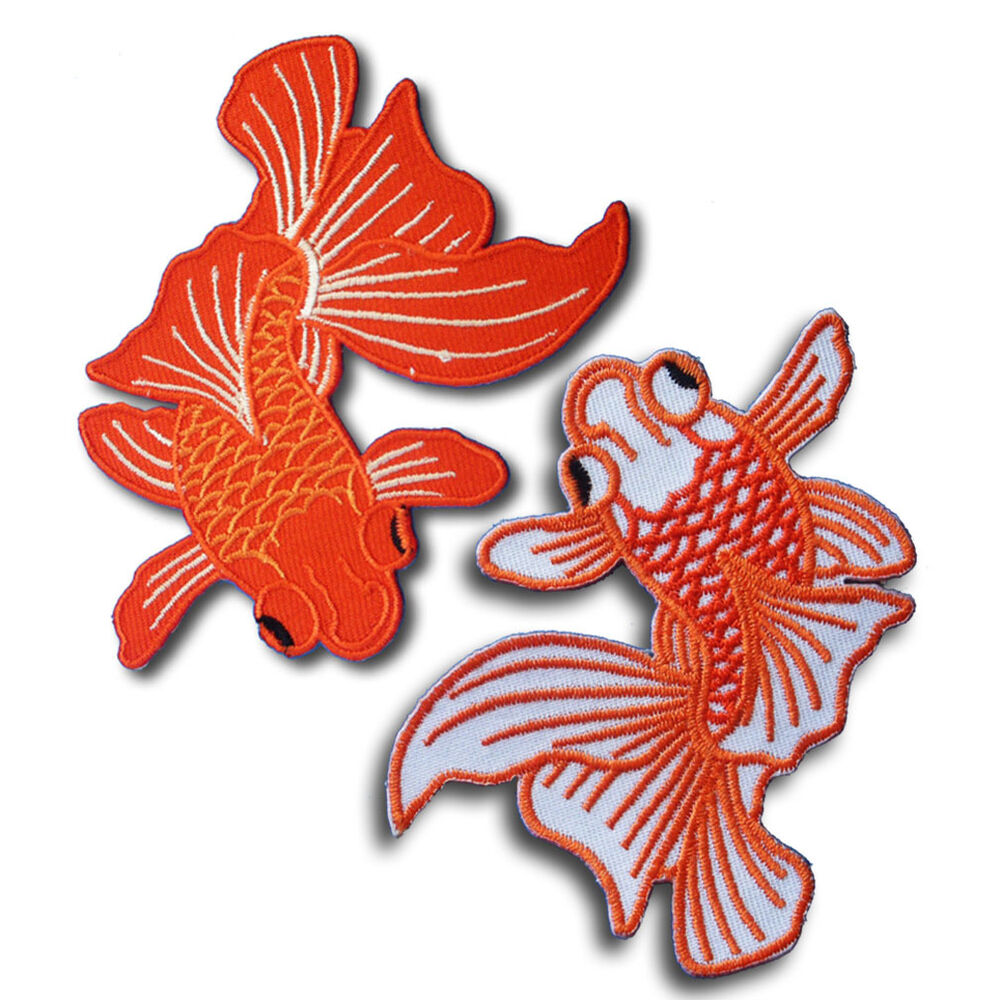 1 pair goldfish patch embroidered iron on sewin lucky koi for Lucky koi fish