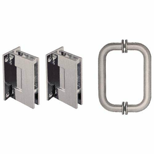 Crl Brushed Nickel Geneva Shower Pull And Hinge Set