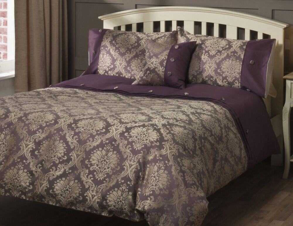 Luxury Purple Gold Damask Jacquard Single Duvet Set New