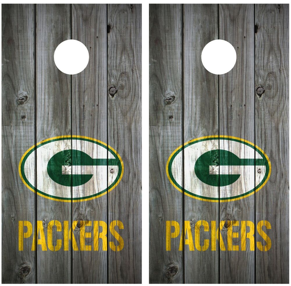 Football Vintage Wood Grey Cornhole Board Decal Wrap