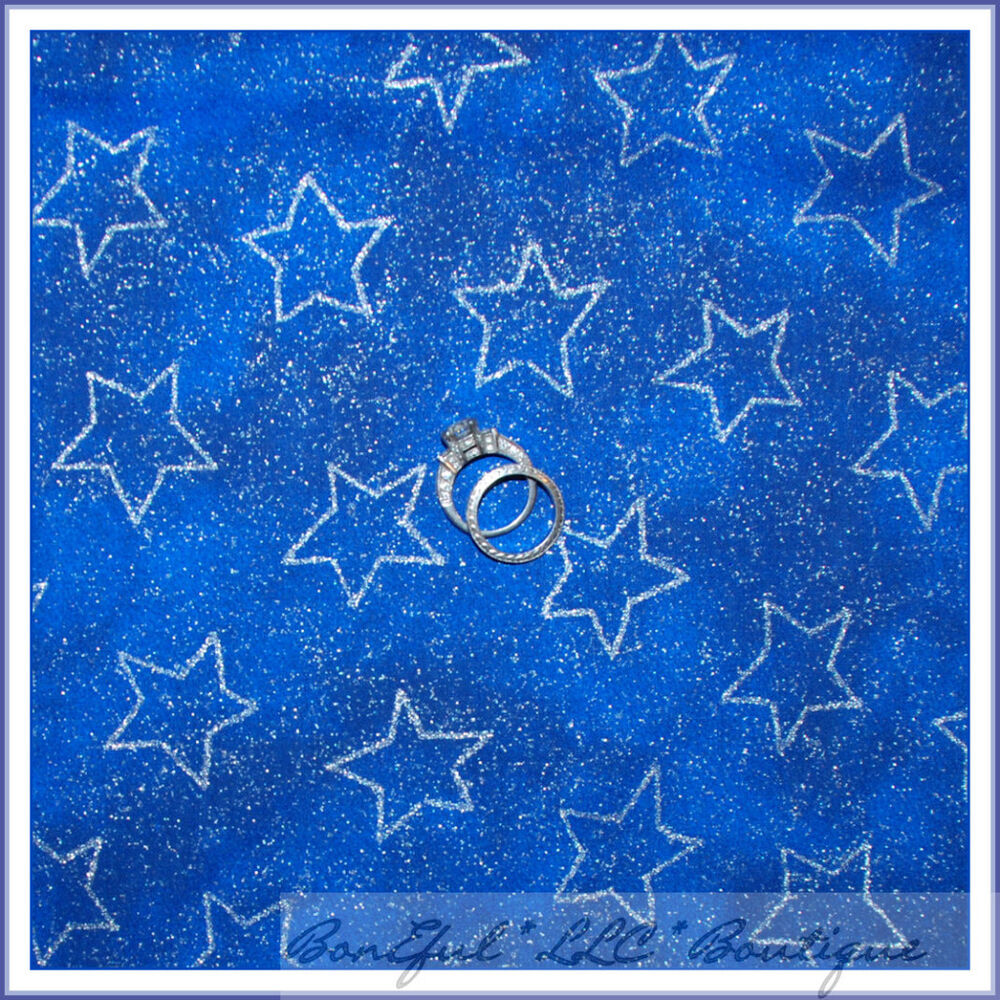 Boneful fabric fq cotton quilt blue silver giltter star for Night sky material