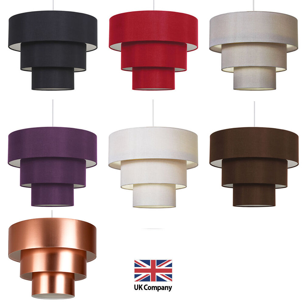 modern easy fit 3 tier fabric ceiling pendant light shade lampshades