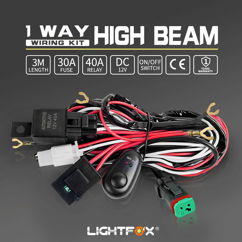 Led Hid Wiring Loom Harness Spot Work Driving Light Bar 12v 40a Heavy Duty Suitable For Halogen And Bars Deutsch Relay Ebay