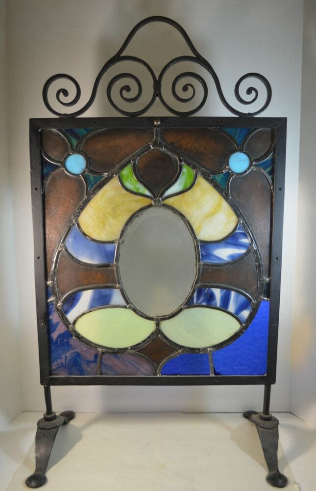 Arts and crafts stained glass and wrought iron fire screen for Arts and crafts glass