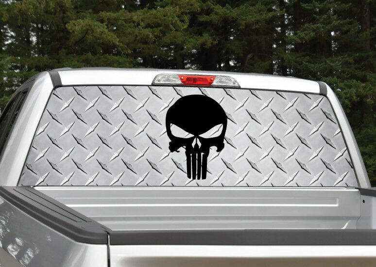 Punisher Skull Black Diamond Plate Rear Window Decal