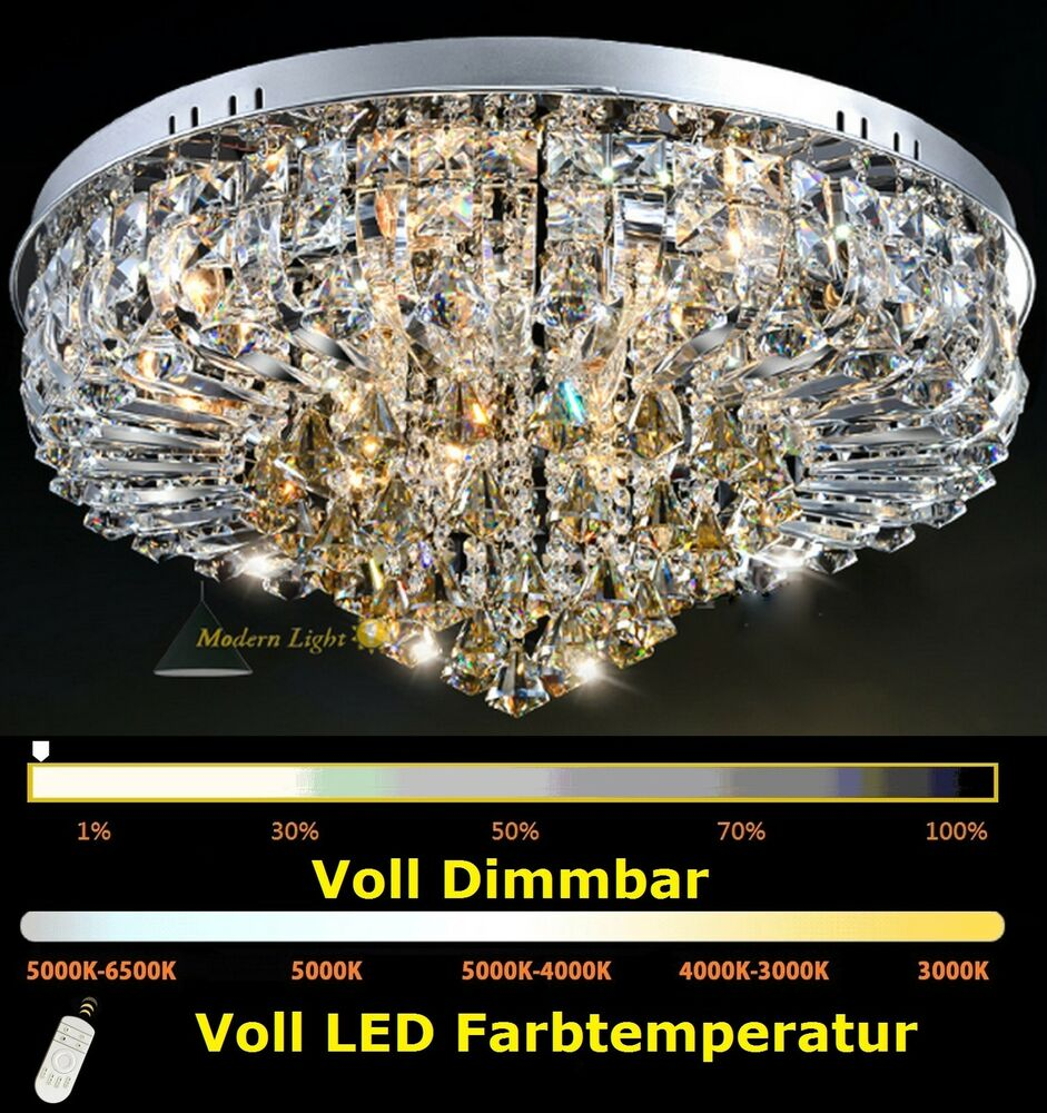 d50cm 70cm voll dimmbar led kristall kronleuchter deckenleuchte deckenlampe ebay. Black Bedroom Furniture Sets. Home Design Ideas