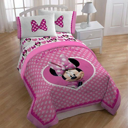 Minnie Mouse Bedroom Set Full Size: Disney Minnie Mouse Comforter Twin/full Size Cute Bows