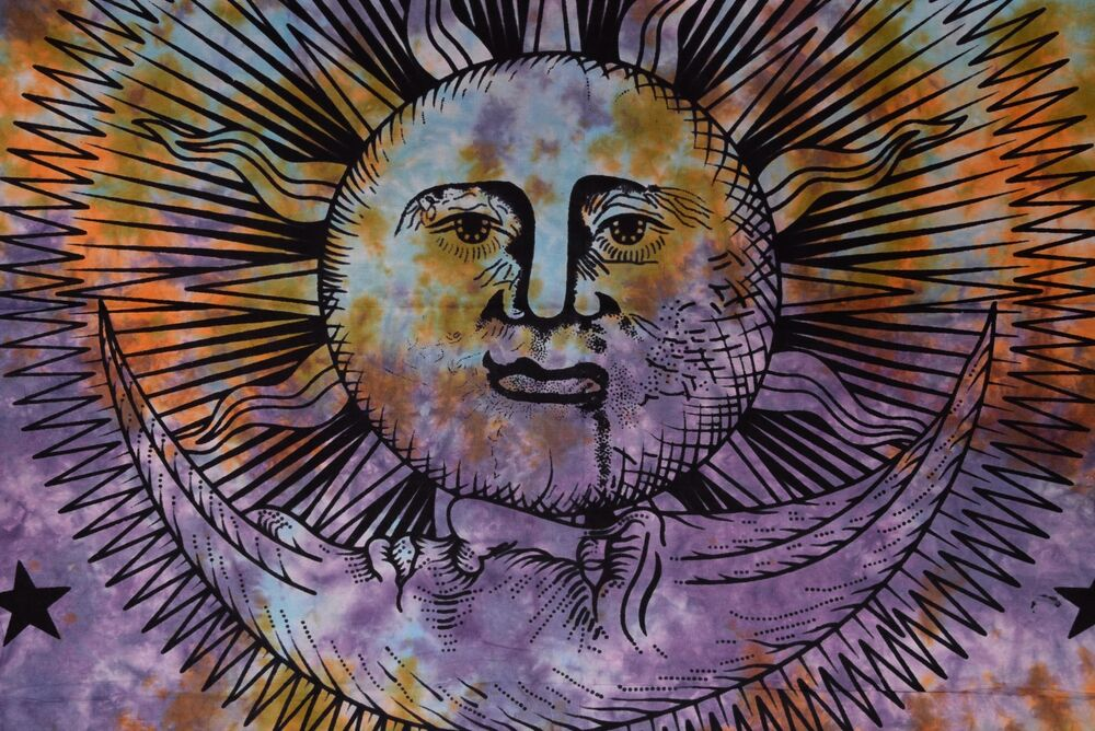 Psychedelic Sun Moon Tapestry Bohemian Wall Tapestries Indian Wall ...