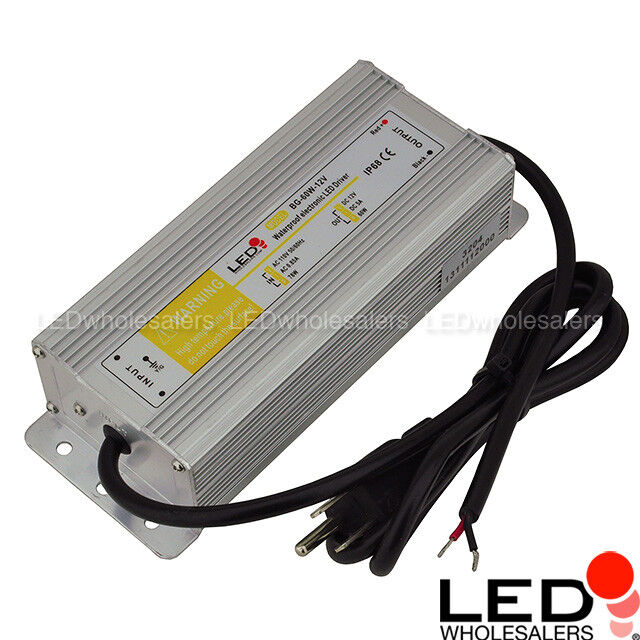 12 volt dc 60 watt 5a led waterproof driver power supply with 3 prong plug ip67 ebay. Black Bedroom Furniture Sets. Home Design Ideas