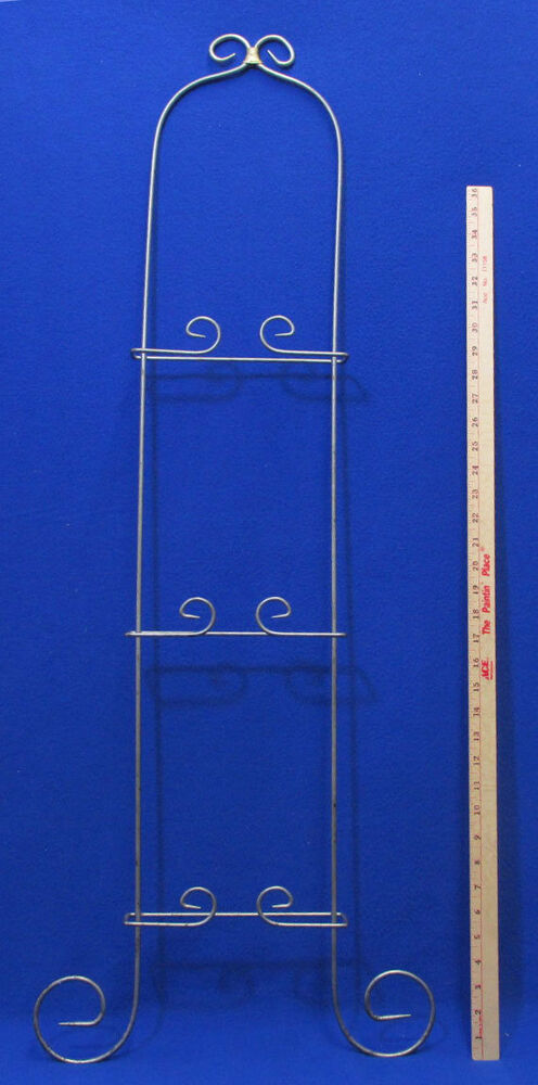 Large Wall Hanging Plate Rack 3 Tier Silver Tone Vertical