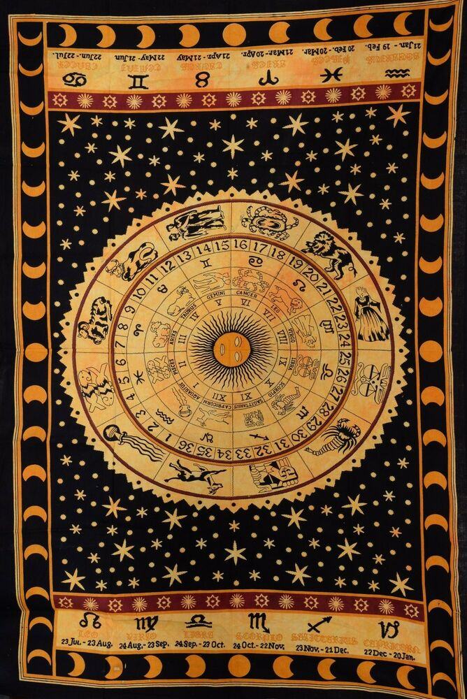 Zodiac Sun Moon Tapestries Psychedelic Wall Hanging Indian Celestial ...