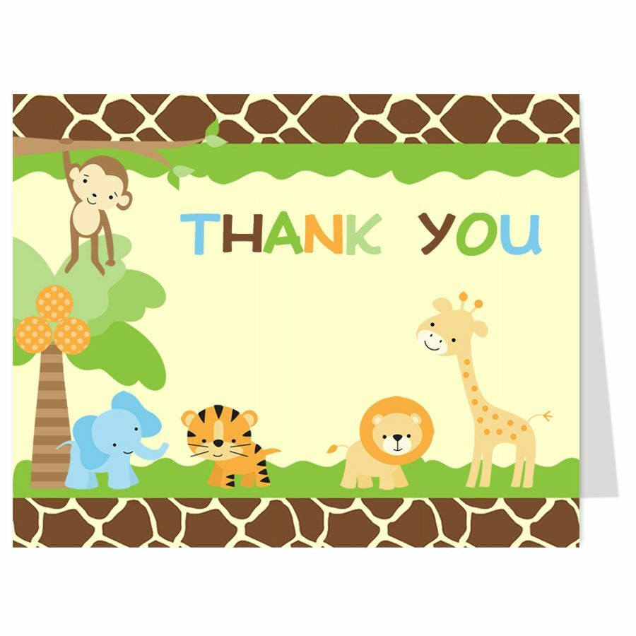 Jungle Safari Thank You Cards, Animal Baby Shower, Birthday, Monkey, Set Of 24