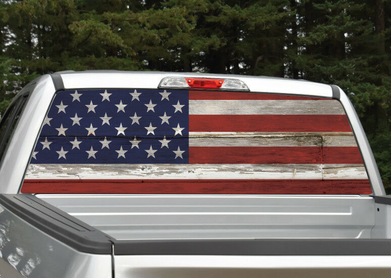 American Flag Vintage Wood Rear Window Decal Graphic For