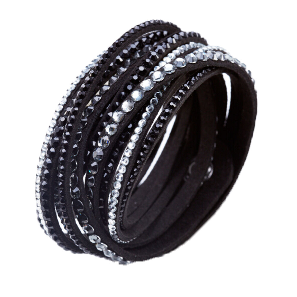 crystal cuff bracelet rhinestone slake deluxe black bracelet swarovski element ebay. Black Bedroom Furniture Sets. Home Design Ideas