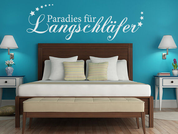 wandtattoo schlafzimmer spr che paradies f r langschl fer. Black Bedroom Furniture Sets. Home Design Ideas