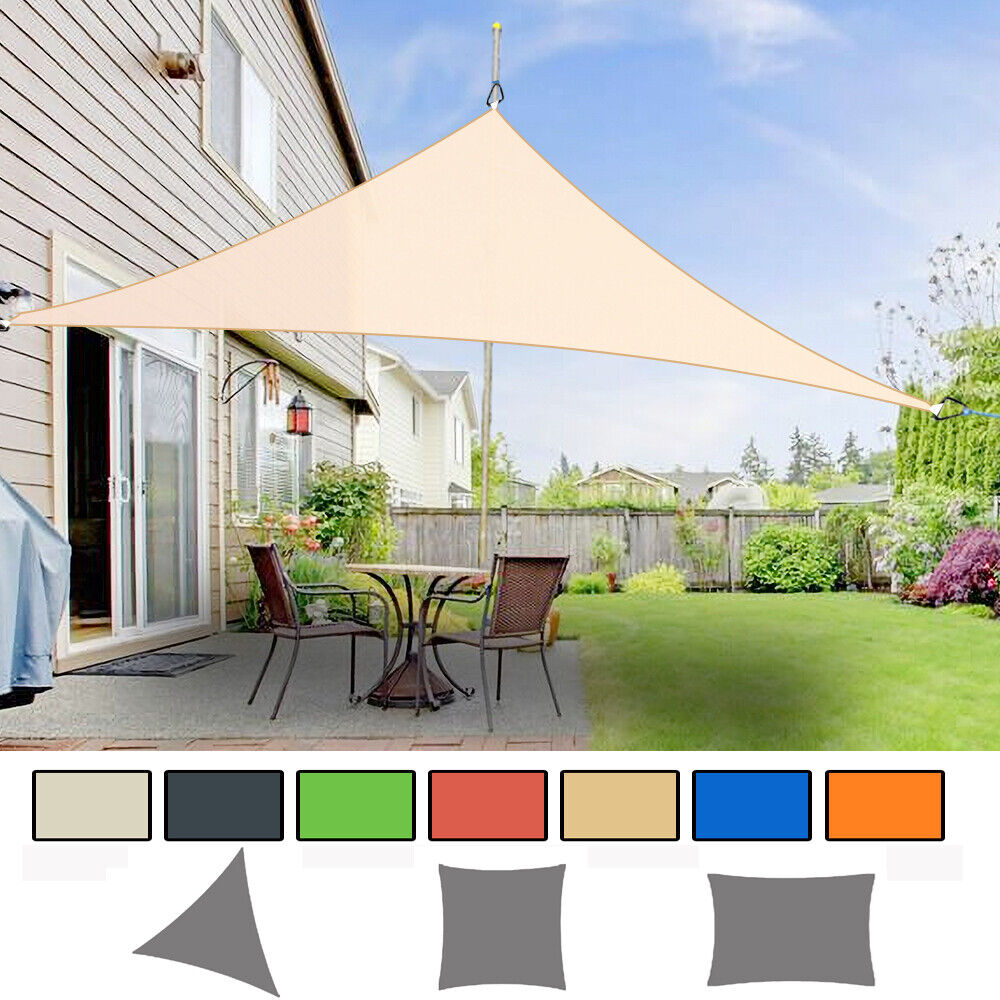 sun shade sail garden patio awning canopy sunscreen 98 uv block new ebay. Black Bedroom Furniture Sets. Home Design Ideas