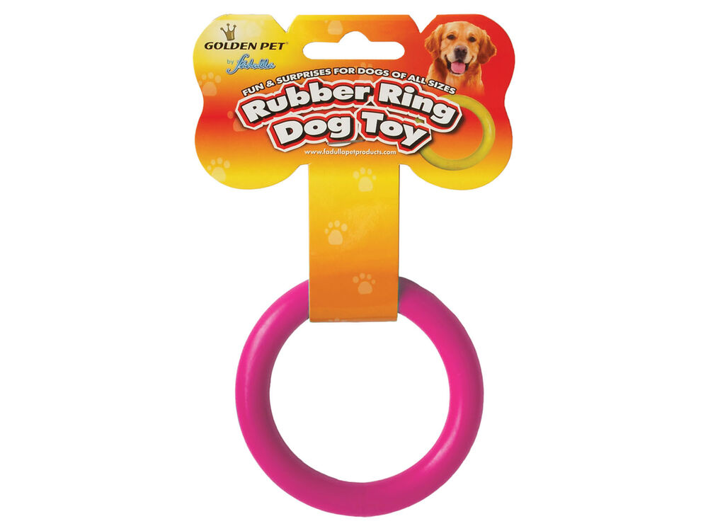 Solid Soft Rubber Dog Ring Tough Fetch Toy Choice of 2 ...