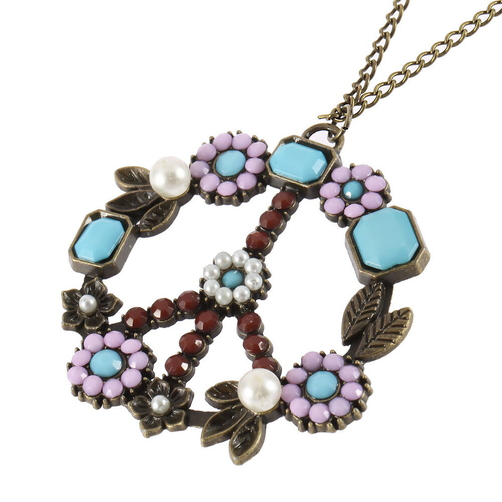 Peace Sign Vintage Pendant Long Necklace Jewelry Flowers ...