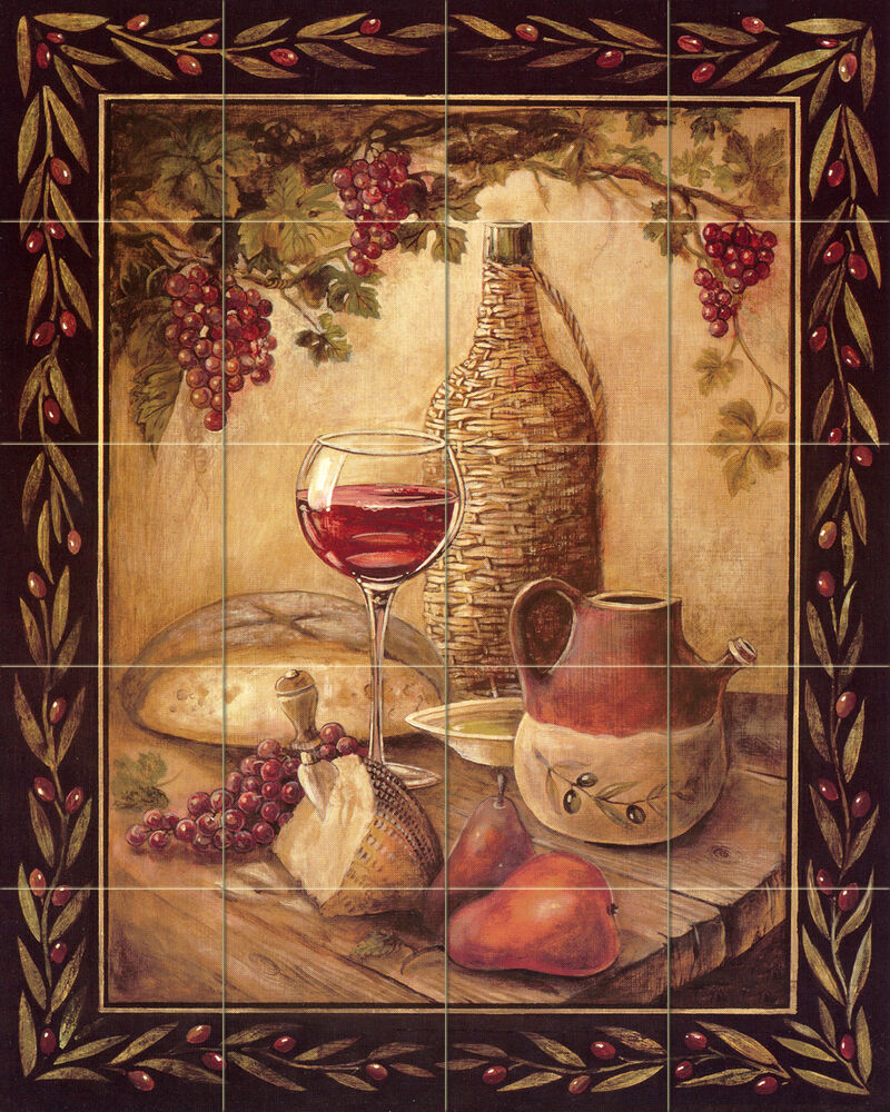 30 x 24 art mural ceramic bread wine cheese backsplash for Ceramic mural painting