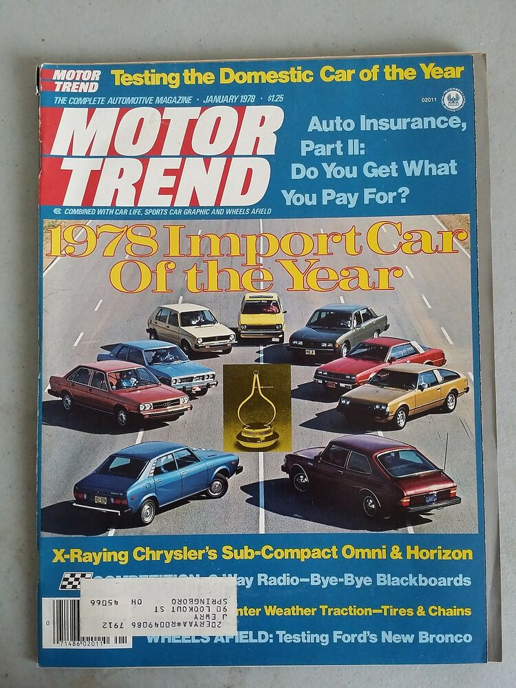 motor trend magazine january 1978 twenty years of toyota car of the year awards ebay. Black Bedroom Furniture Sets. Home Design Ideas