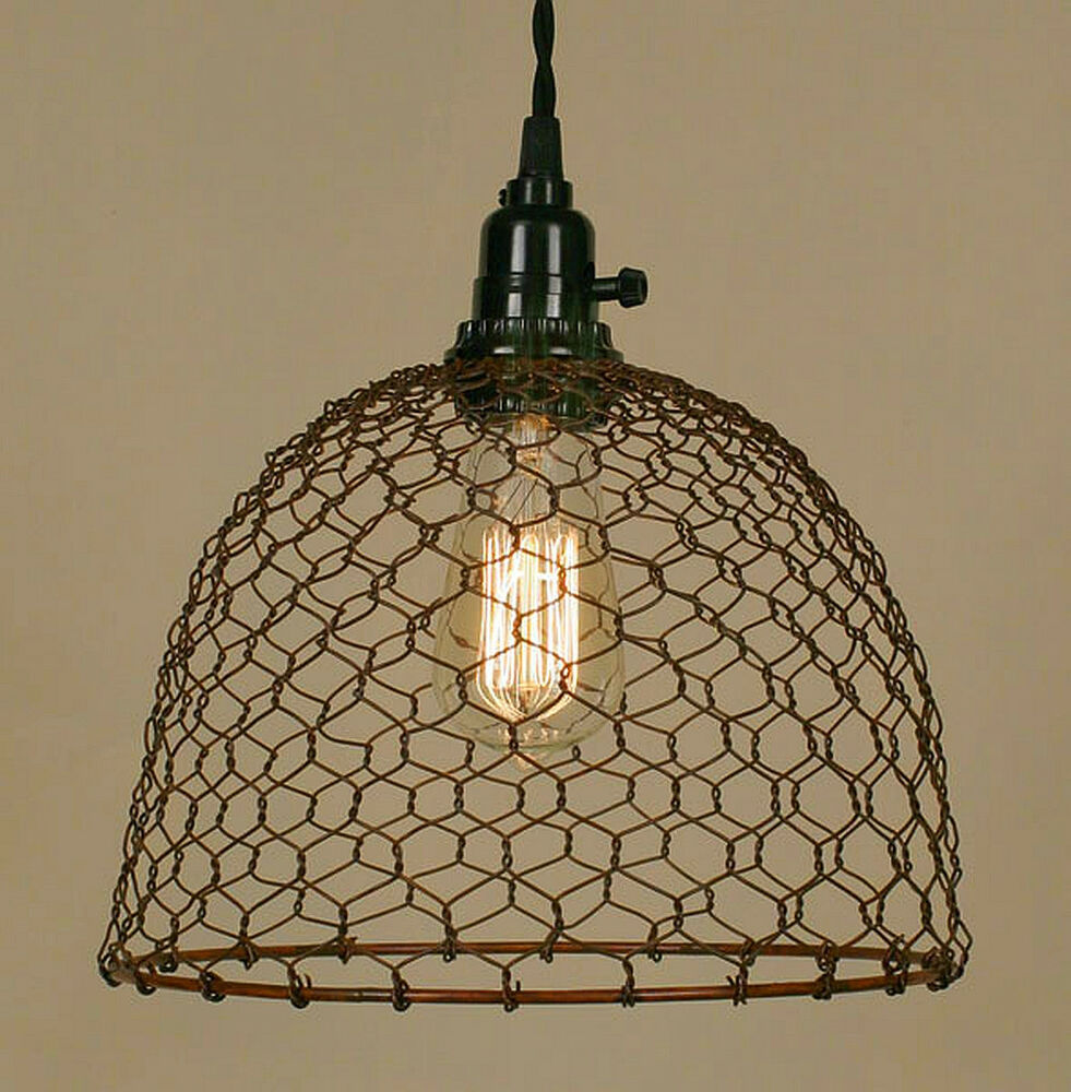 Old Industrial Pendant Light: Vintage Rustic Industrial Chicken Wire Dome Pendant Light