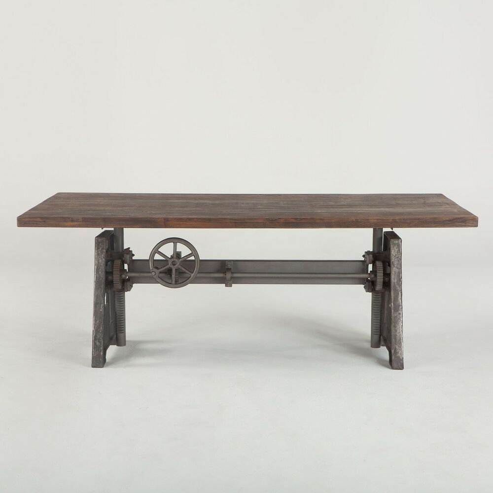 83 l dining crank table industrial design solid iron weathered wood top unique ebay. Black Bedroom Furniture Sets. Home Design Ideas
