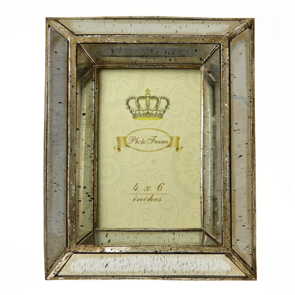 Vintage Style 4x6 Mirror Photo Frame Shabby Chic