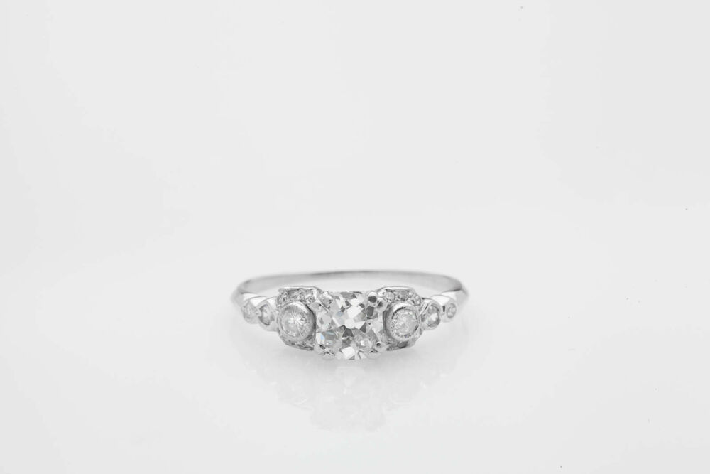 Antique Edwardian 1900s $10 000 1 35ct Old Euro Diamond Platinum Wedding Ring