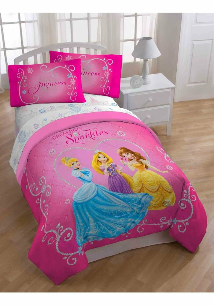 Disney Princess Tiara Comforter 5 piecs set full plush ...