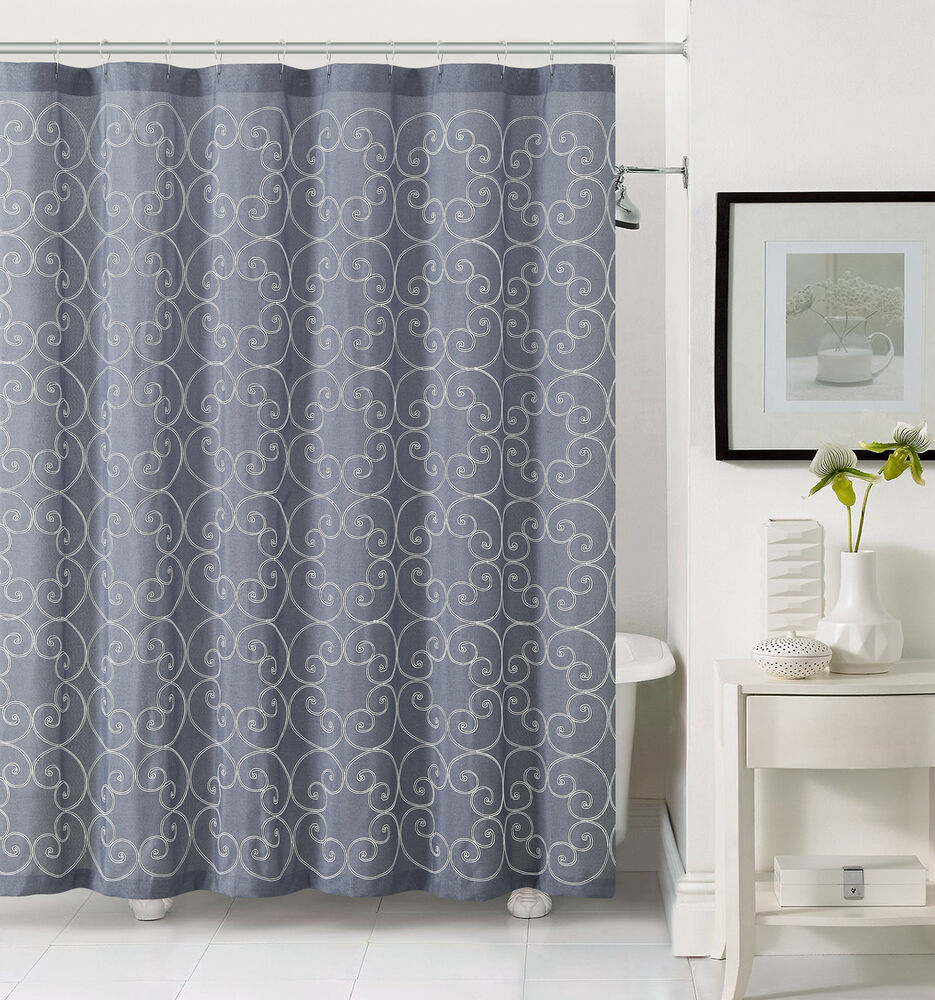 Slate Gray Fabric Shower Curtain with White Embroidered
