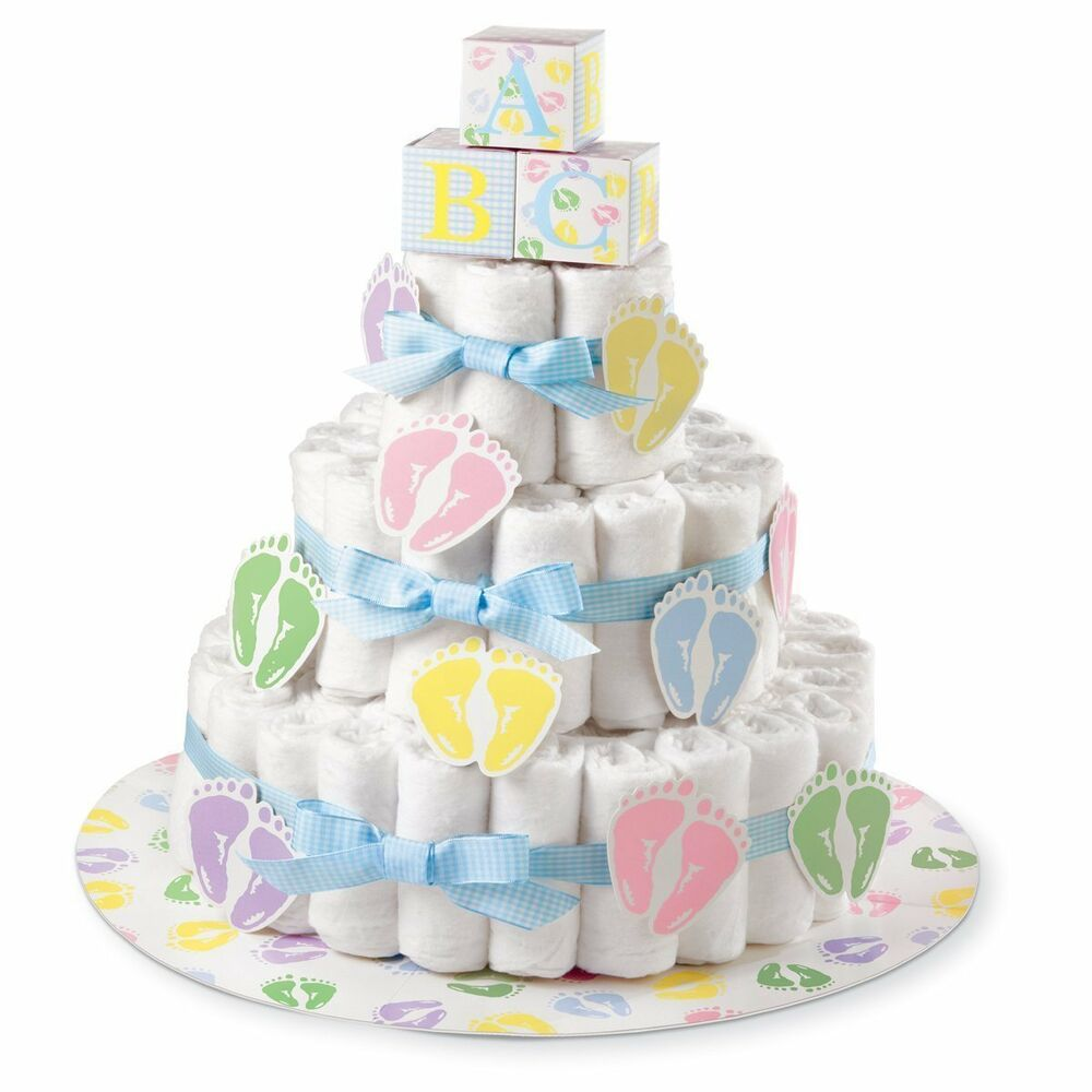 Diaper cake kit baby shower bake boy girl stand party for Baby shower decoration diaper cake