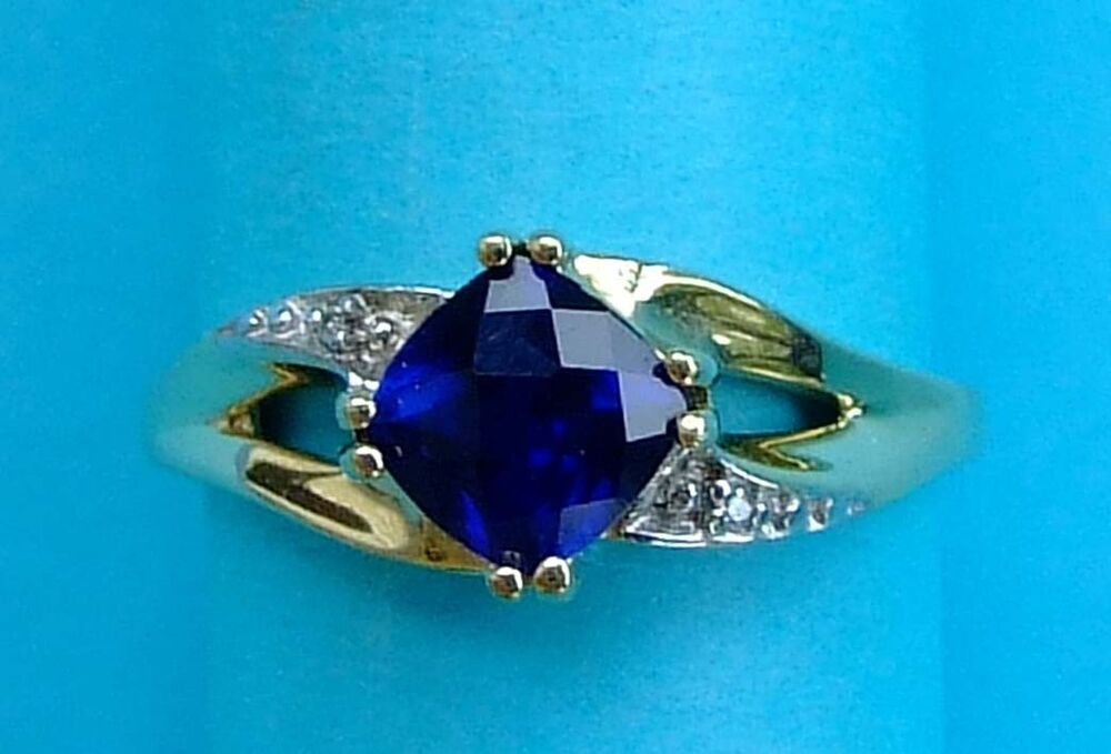 Square man made sapphire ring with two diamonds 10k for Man made sapphire jewelry
