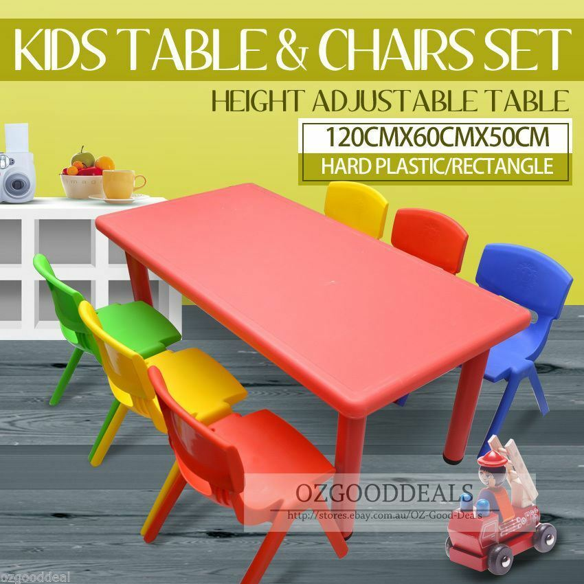 large kids toddler children activity table and 6 chair