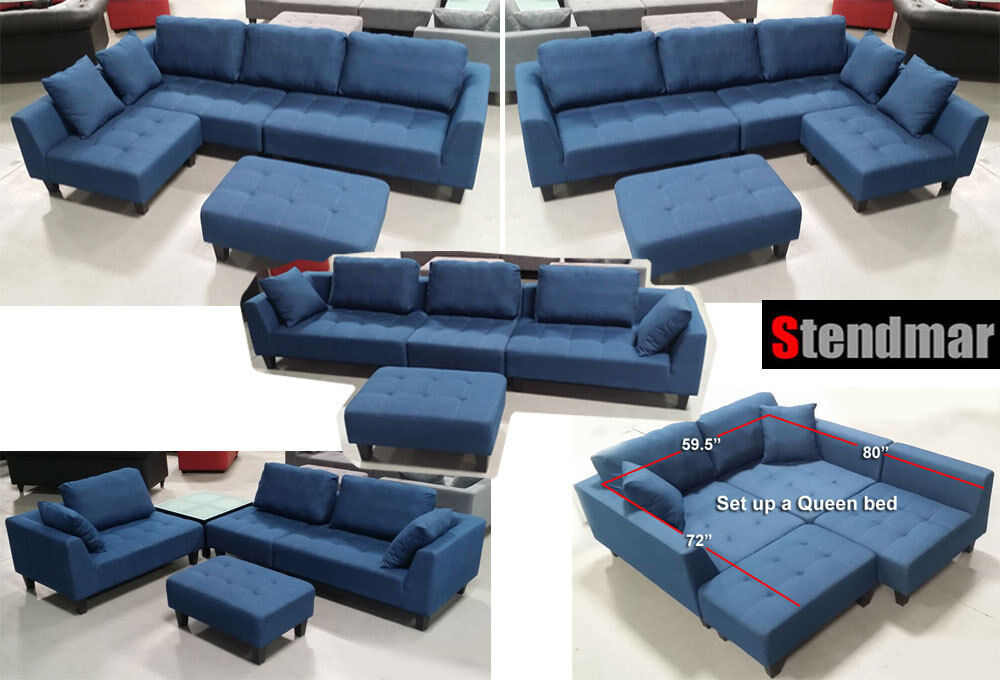 New 4pc Multi Function Sectional Sofa In Blue Jean Fabric