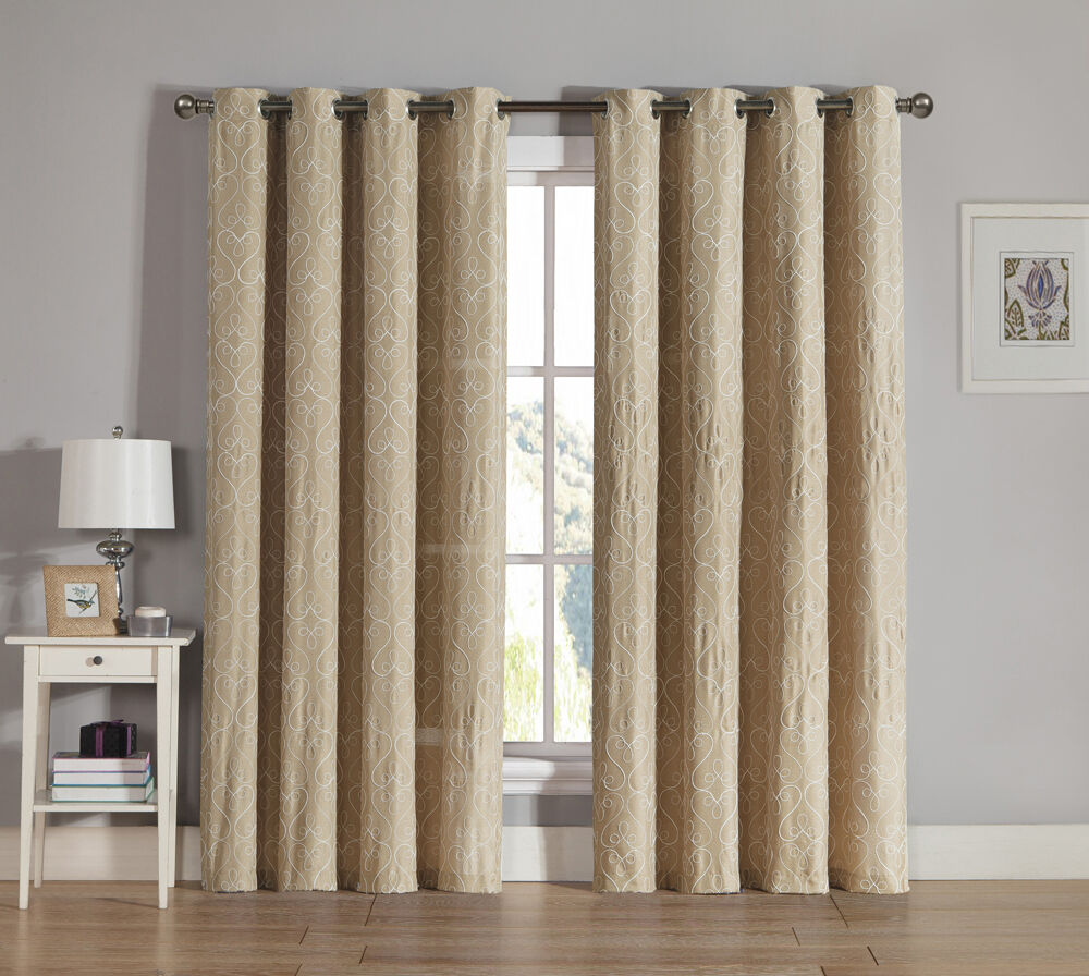 Taupe grommet window curtain panel two piece set for Window panel design