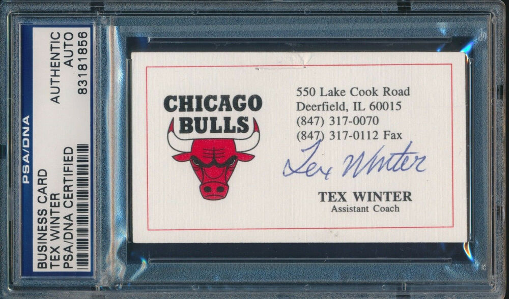 TEX WINTER SIGNED CHICAGO BULLS BUSINESS CARD PSA DNA