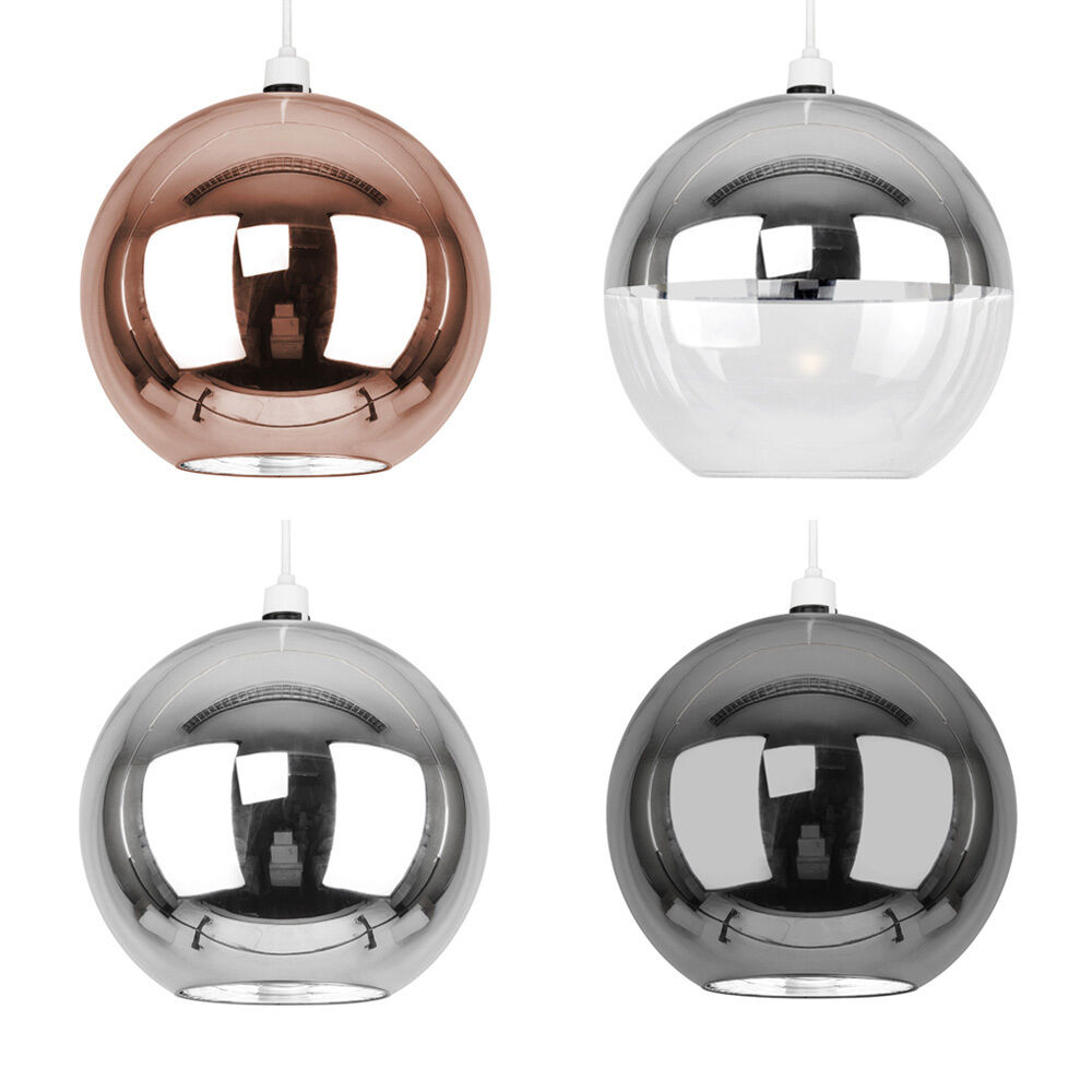 Large Metallic Copper / Chrome Glass Globe Ceiling Pendant