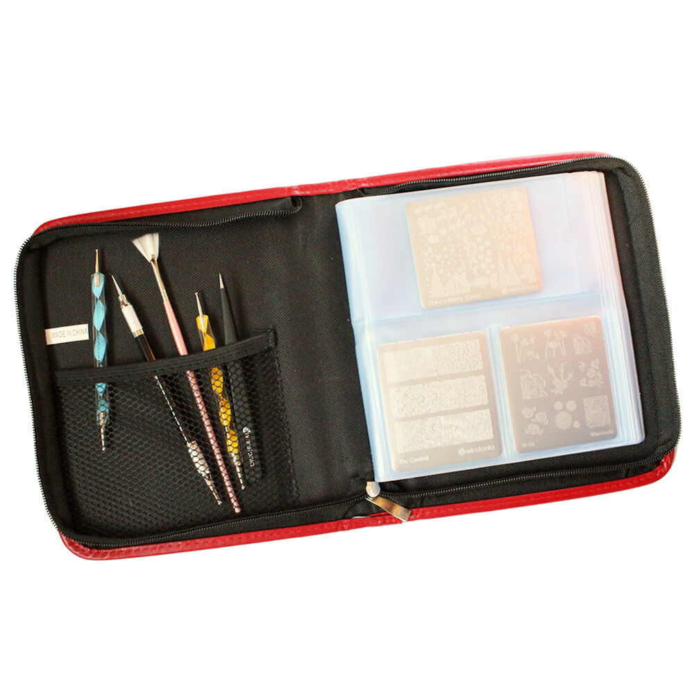 Winstonia Nail Art Stamping Plate Organizer Holder Zipper