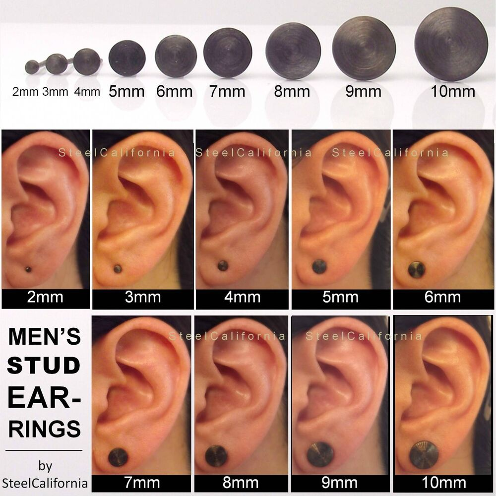 Black Stud Earrings For Men Gold Plated Post Sterling Silver Ebay