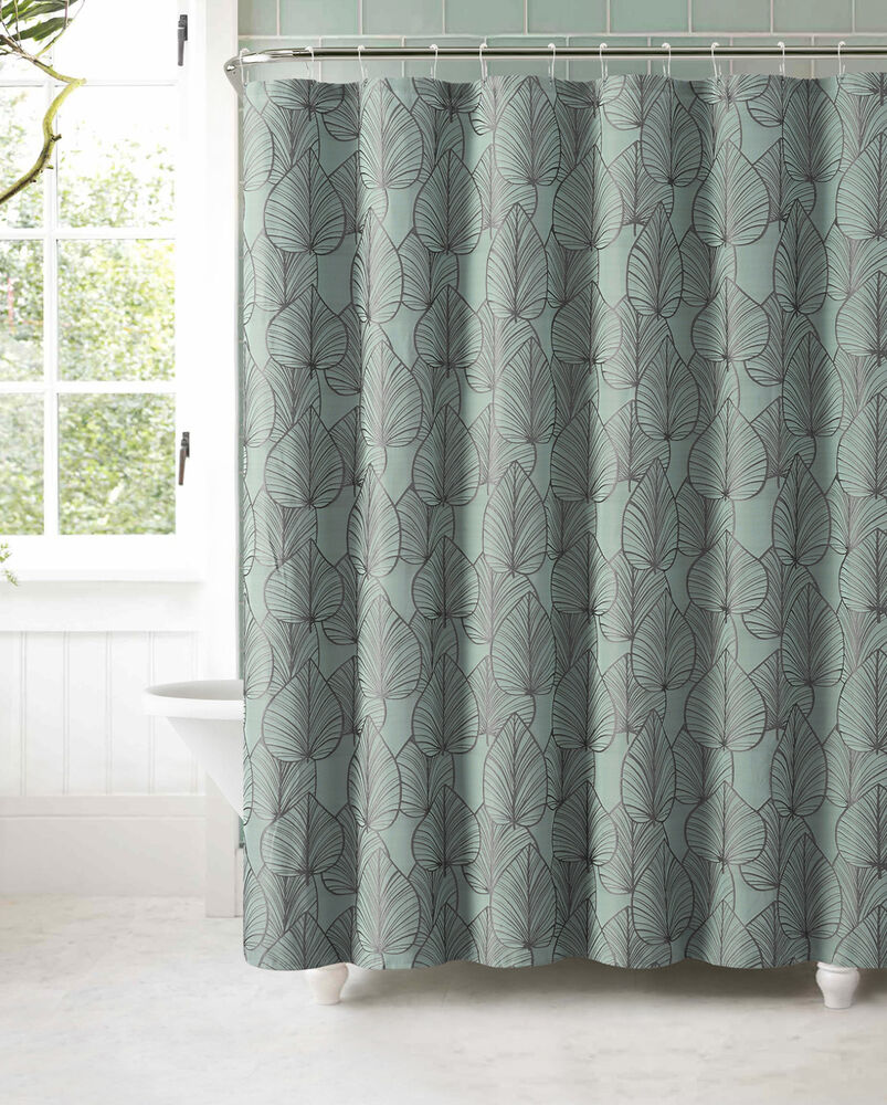slate blue jacquard fabric shower curtain gray textured