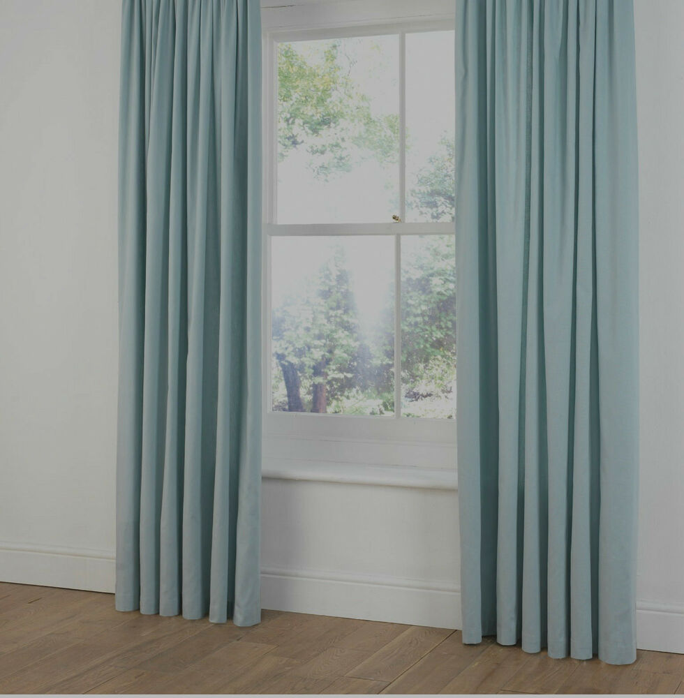 100% PLAIN COTTON CANVAS CURTAINS In DUCK EGG /LIGHT BABY