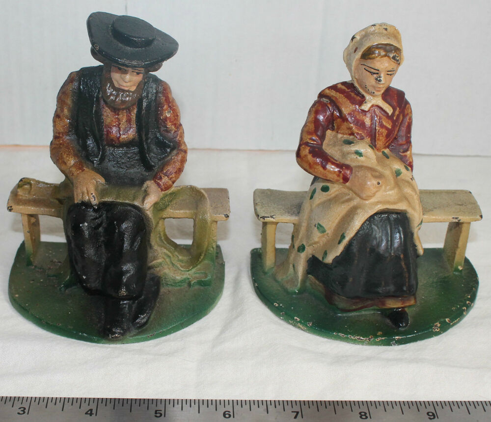 Vintage Cast Iron Amish Man And Woman Bookends Or Door