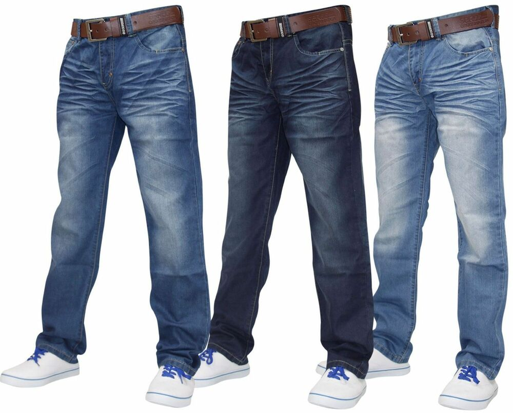New Mens Designer Crosshatch Denim Regular Fit Pants Jeans | eBay