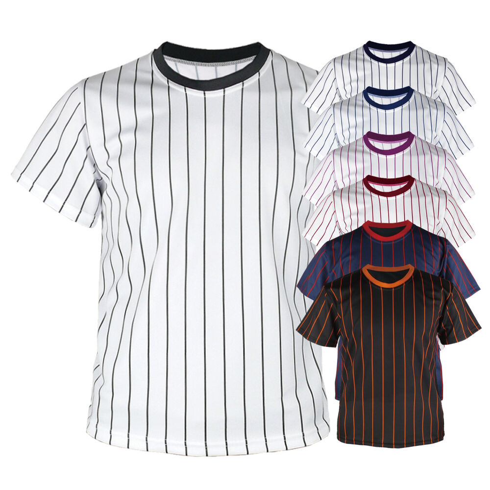 New Mens Baseball Team T Shirts Jersey Blank Striped