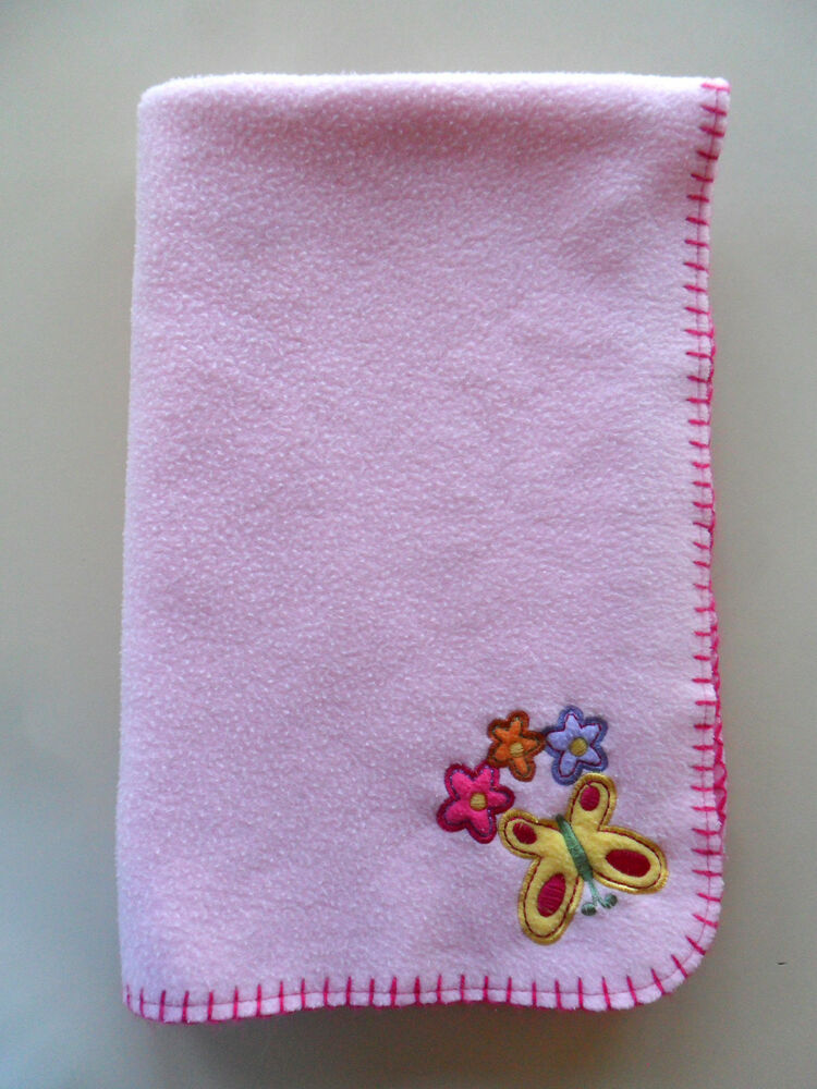 Baby Connection Pink Flower Butterfly Fleece Baby Blanket