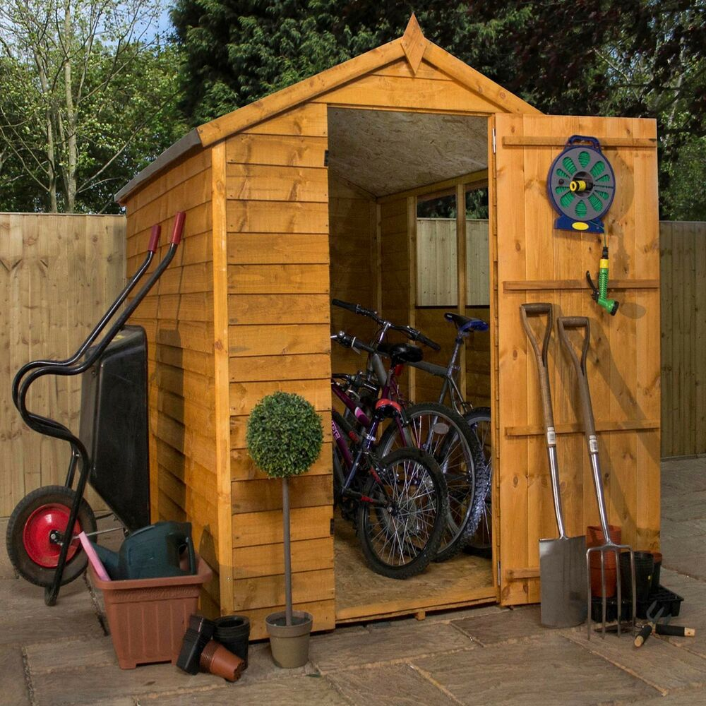 7x5 overlap wooden shed window single door apex roof for Garden shed 7x5